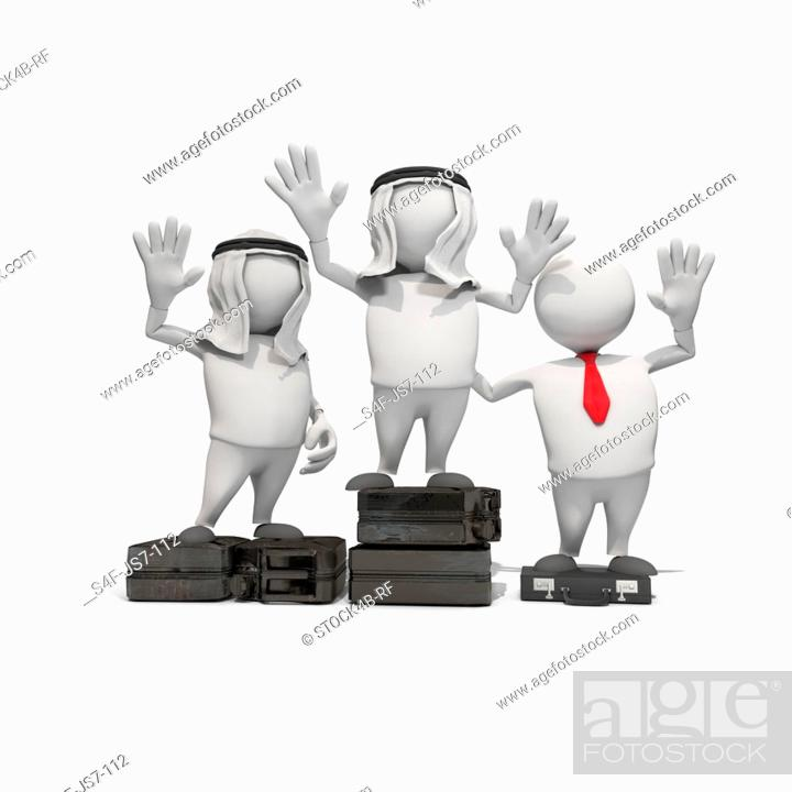 Stock Photo: Anthropomorphic figures with fuel can and briefcase standing on winners podium, CGI.