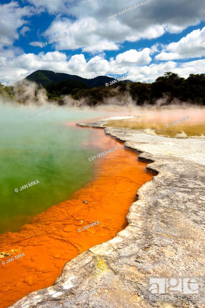 Stock Photo: Wai-O-Tapu Wonderland Geothermal area at Wai-O-Tapu, Rotorua, North Island, New Zealand.