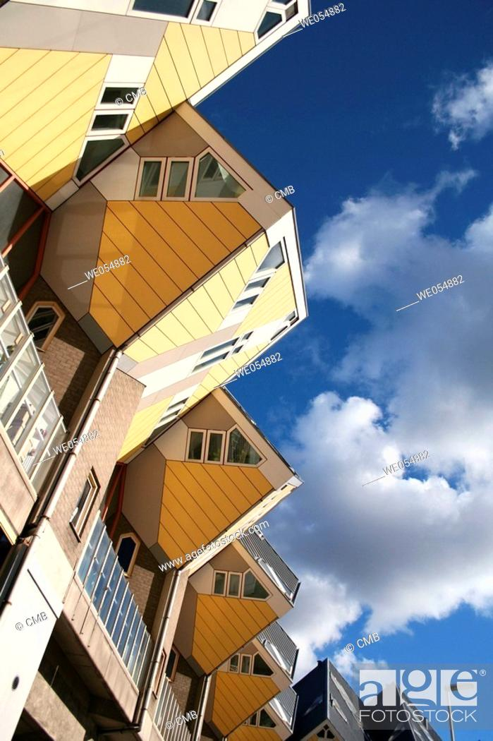 Stock Photo: Cubic houses, pole dwellings by Piet Blom, Rotterdam, Holland, Netherlands.