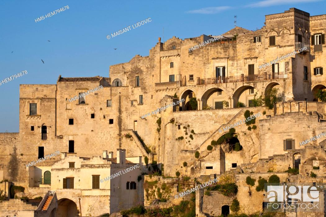 Stock Photo: Italy, Basilicate, Matera, semi-cave built borough Sassi listed as World Heritage by UNESCO, most visited touristic site in the region.