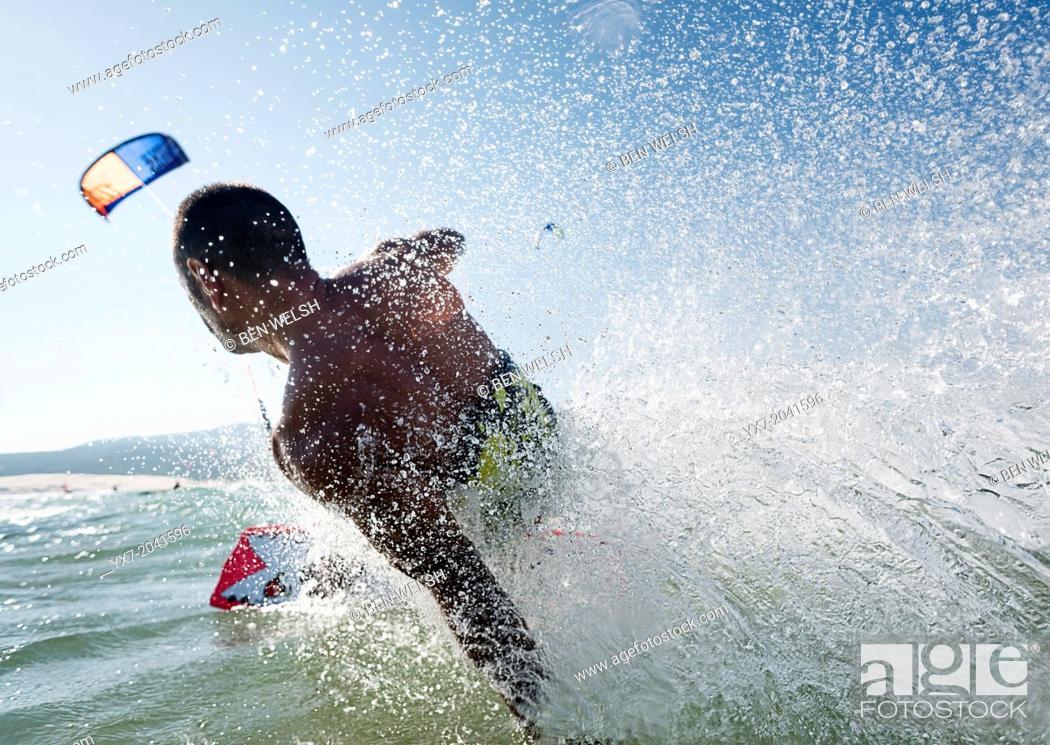 Stock Photo: Kitesurfing in Tarifa, Costa de la Luz, Cadiz, Andalusia, Spain.