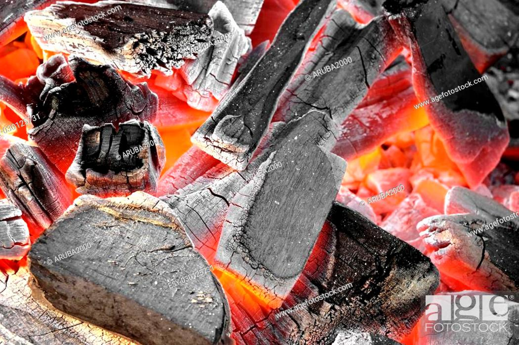 Stock Photo: Glowing Hot Charcoal In Fireplace Background Texture Close-up.