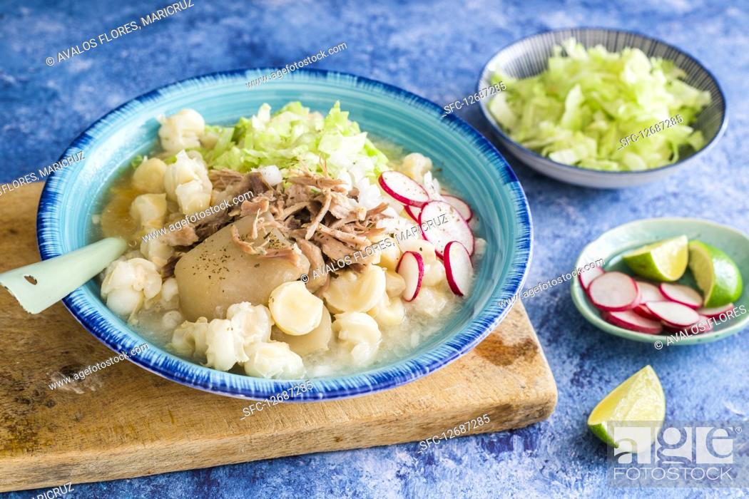 Stock Photo: Pozole (corn stew, Mexico) with pork.