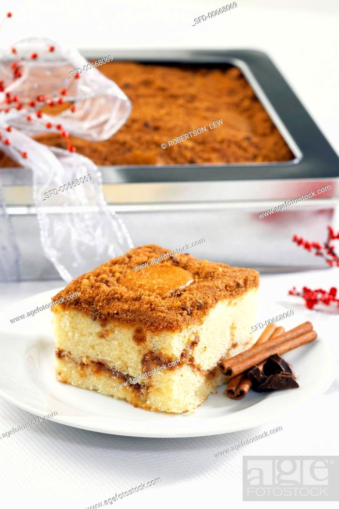 Stock Photo: Piece of Coffee Cake on a Plate with Cinnamon Sticks, Coffee Cake as Gift.