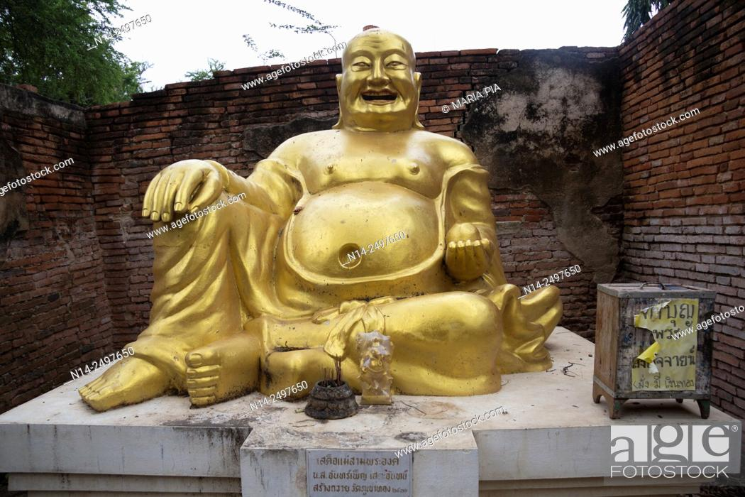 Stock Photo: Laughing fat Buddha Ayutthaya City, Thailand, Asia. Near Wat Phu Khao Thong, Golden Mount. Religion, ruined, Symbol, Smiling, Statue.