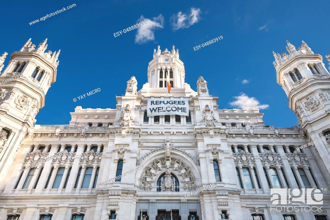 Stock Photo: CybeleS Palace City Hall on November 13, 2016 in Madrid, Spain.
