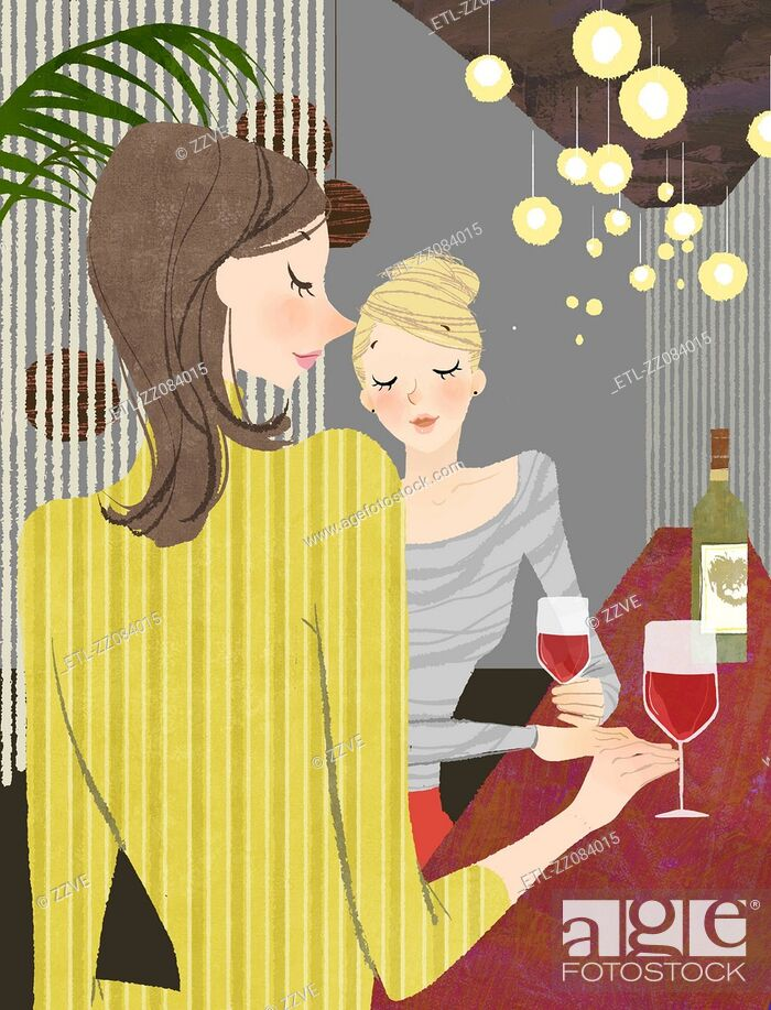 Stock Photo: Two Woman with wine at bar counter.