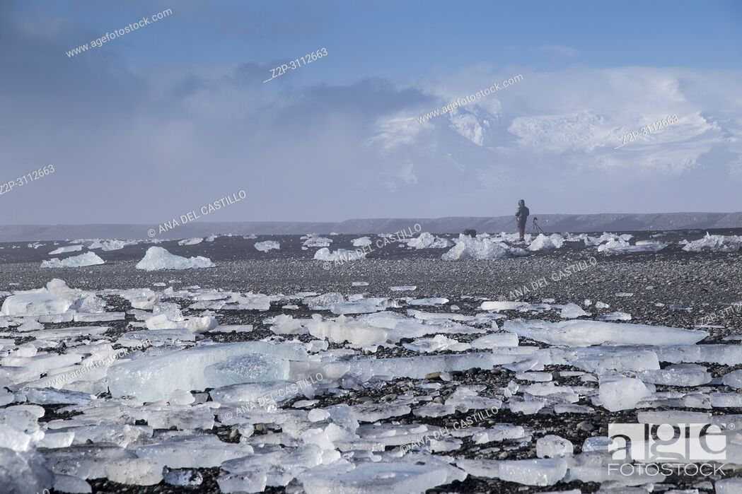 Stock Photo: Diamond Beach Black Iceland beach with diamond ice blocks.