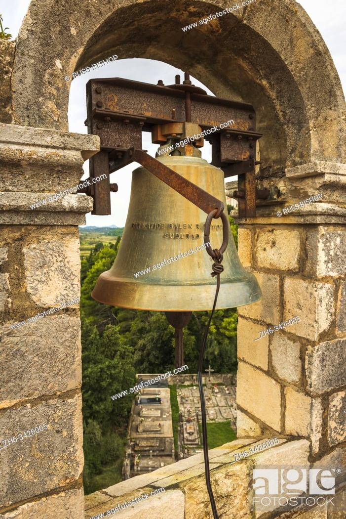 Stock Photo: The bell tower at the Church of the Holy Spirit, Sipan Island, Dalmatian Coast, Croatia.