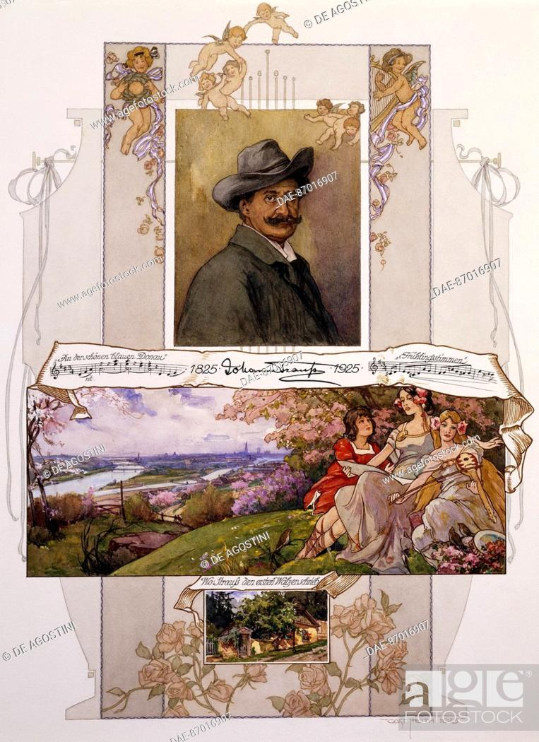 Stock Photo: Commemorative poster for Johann Strauss (1825-1899) with a piece of On the Beautiful Blue Danube.  Vienna, Historisches Museum Der Stadt Wien (History Museum).