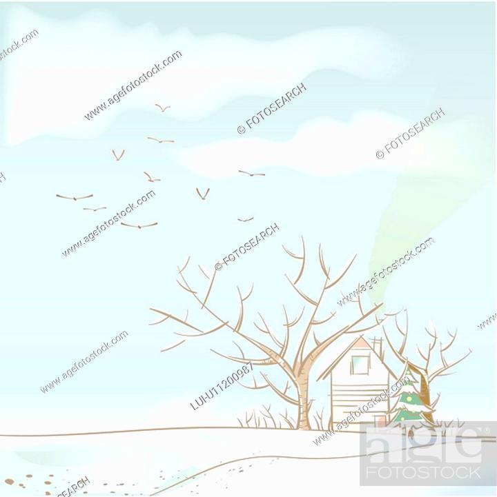 Stock Photo: tree, season, house, snow, winter, hill, background.