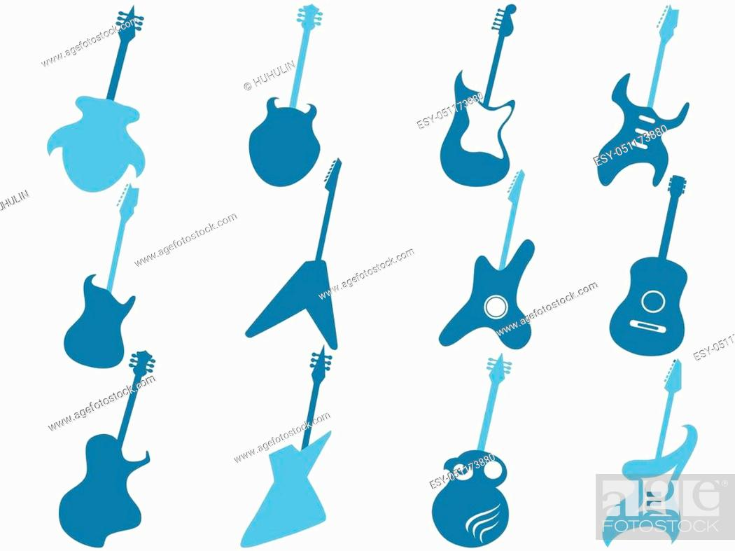 Stock Vector: isolated blue guitar icons set from white background.