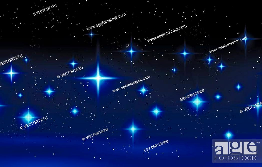 Vector: Night sky horizontal seamless pattern. Vector blue background with glowing stars vector illustration.