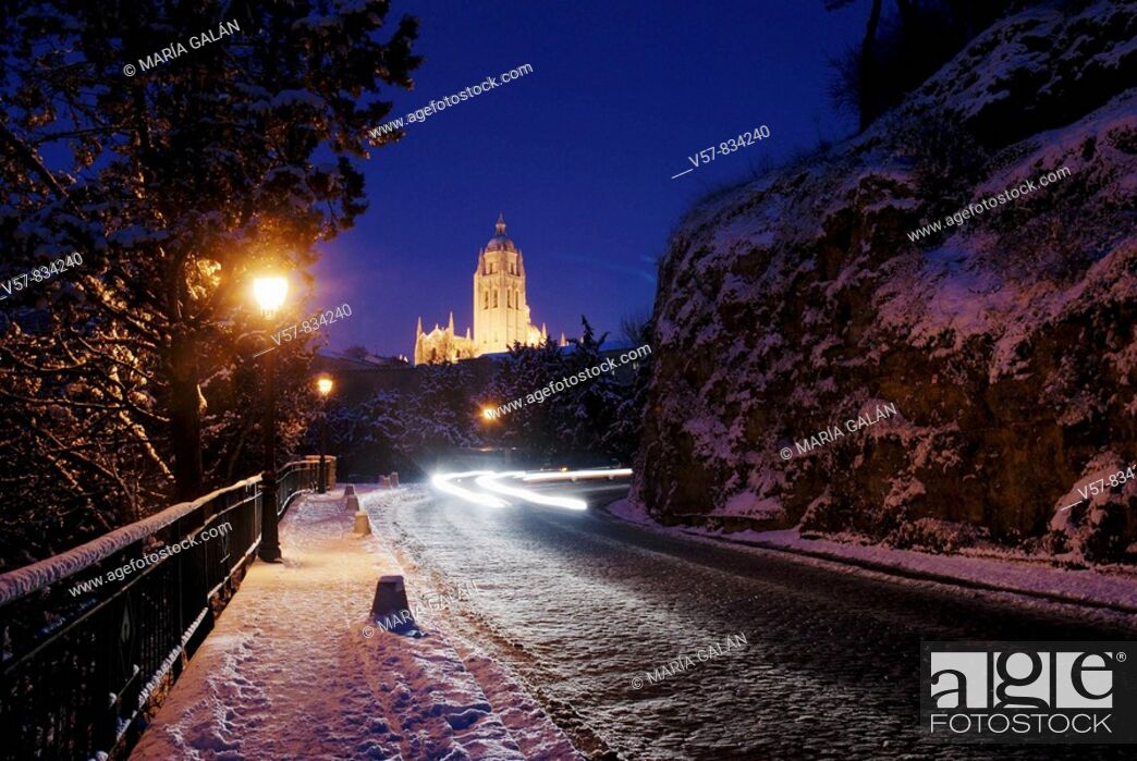 Stock Photo: Night view of snow covered city. Segovia, Castilla Leon, Spain.