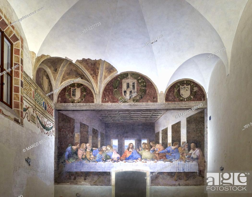 Stock Photo: Milan, Italy. The Last Supper (Il Cenacolo) is a late 15th-century mural painting by Italian artist Leonardo da Vinci housed by the refectory of the Convent of.