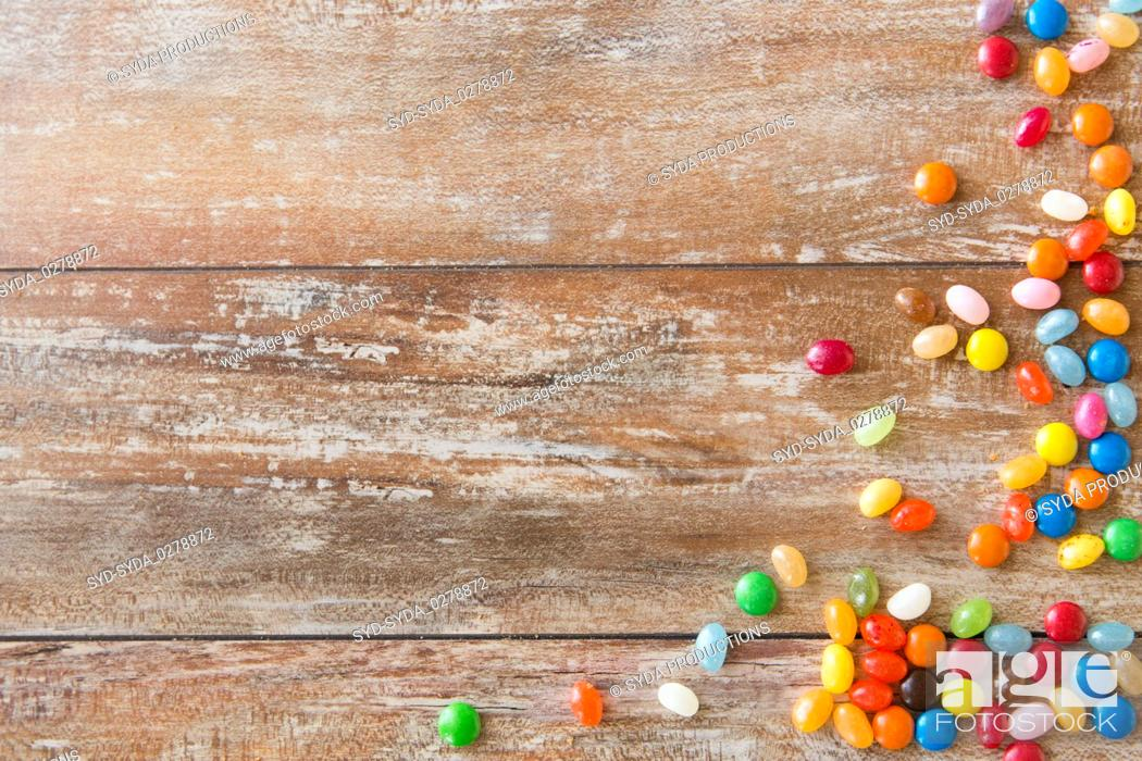 Stock Photo: close up of multicolored jelly beans candies.