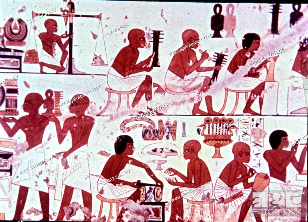 Stock Photo: Goldsmiths presenting his works, fresco from the Tomb of Nebamun and Ipouky.