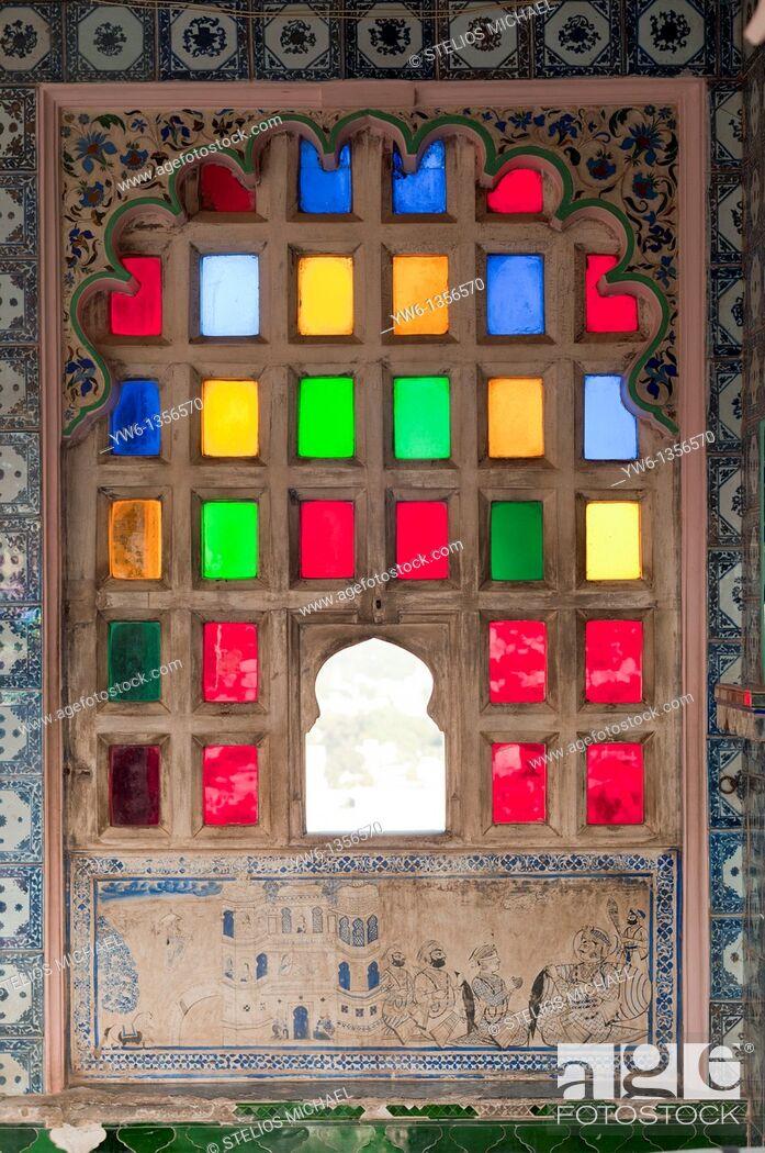 Stock Photo: Udaipur Palace window,Rajasthan,India.