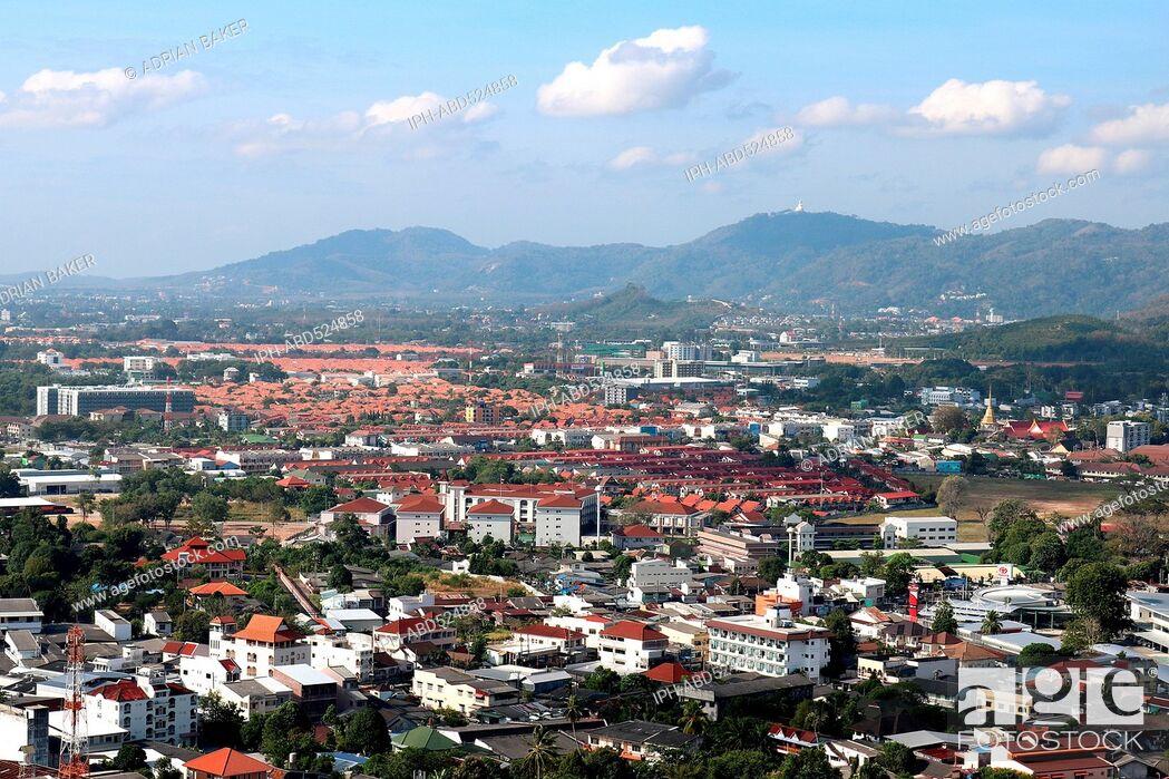 Imagen: Thailand Phuket Phuket Town View over Phuket from view point at Khao Rang (Rang Hill).