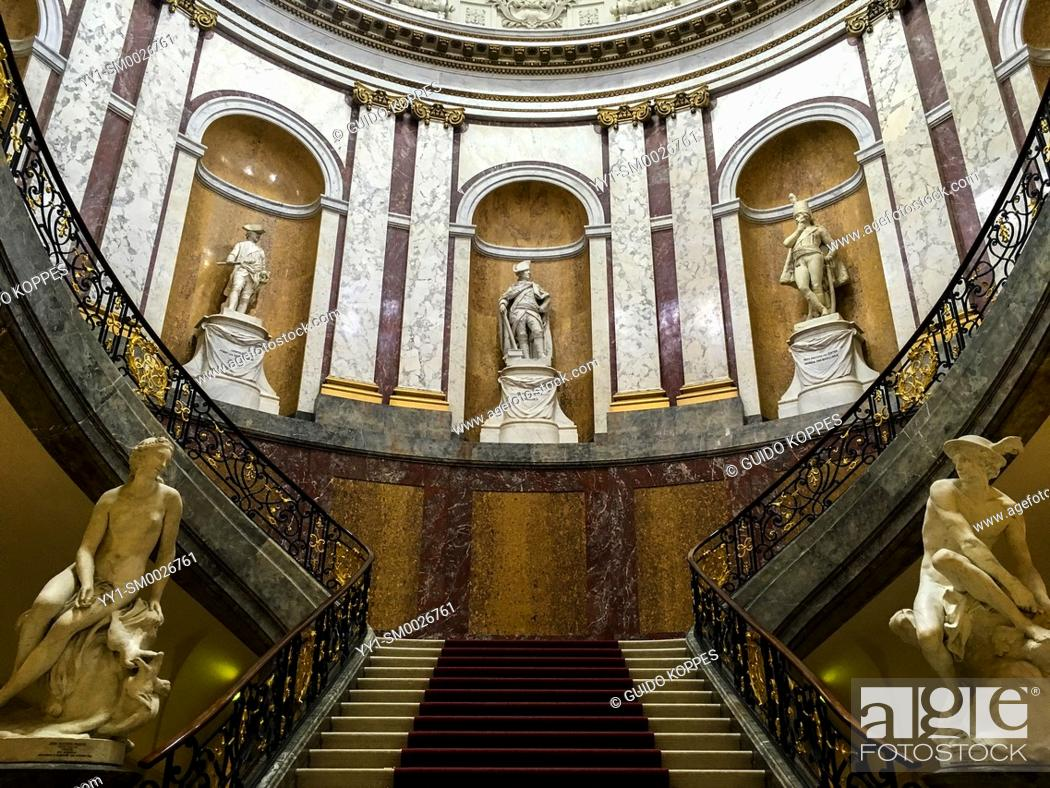 Stock Photo: Berlin, Germany. Stairs & Statues inside Das Bode Museum on Berlin's Museum Insel form a beautifull combination of interior, museum design.