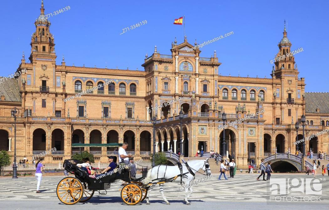 Stock Photo: Spain; Andalusia; Seville; Plaza de Espana, .