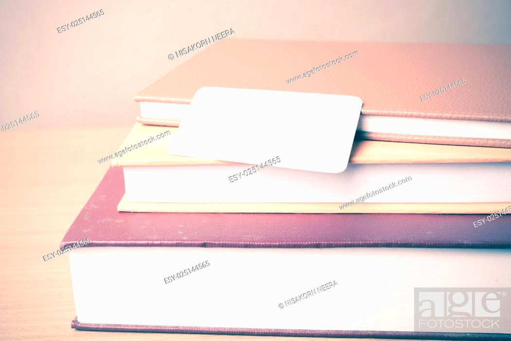 Stock Photo: stack of book and business card.