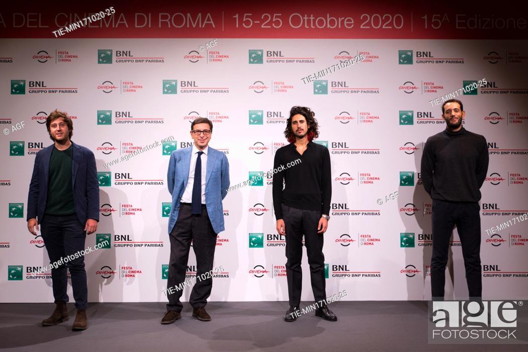 """Stock Photo: Gian Marco Ceccaranelli, Antonio Monda, Gipo Fasano, Valerio Santucci attends the photocall of the movie """"""""Le Eumenidi"""""""" during the 15th Rome Film Festival on."""