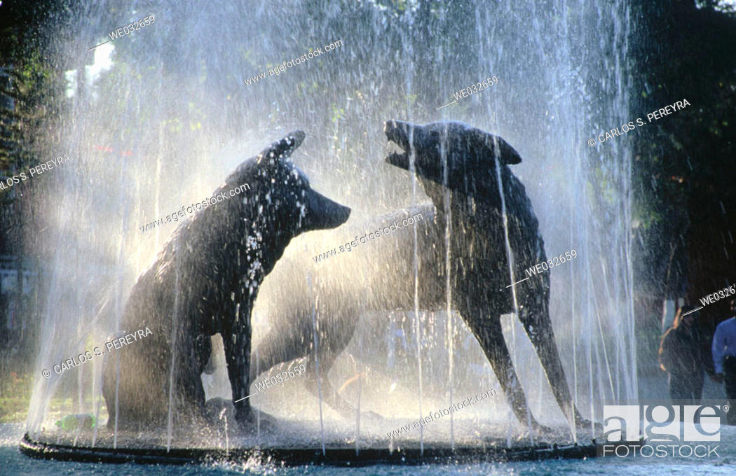 Stock Photo: Statues of coyotes at fountain, Coyoacán. Mexico D.F., Mexico.