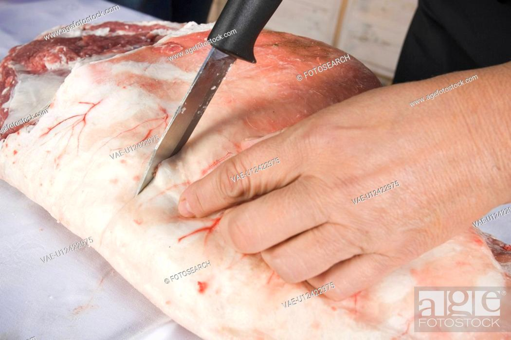 Stock Photo: Butcher, Close-Up, Cutting, Flank.
