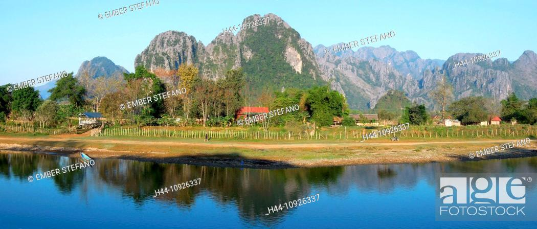Stock Photo: Laos, Asia, Vang Vieng, Xong, river, flow, mountains, scenery, landscape, agriculture.