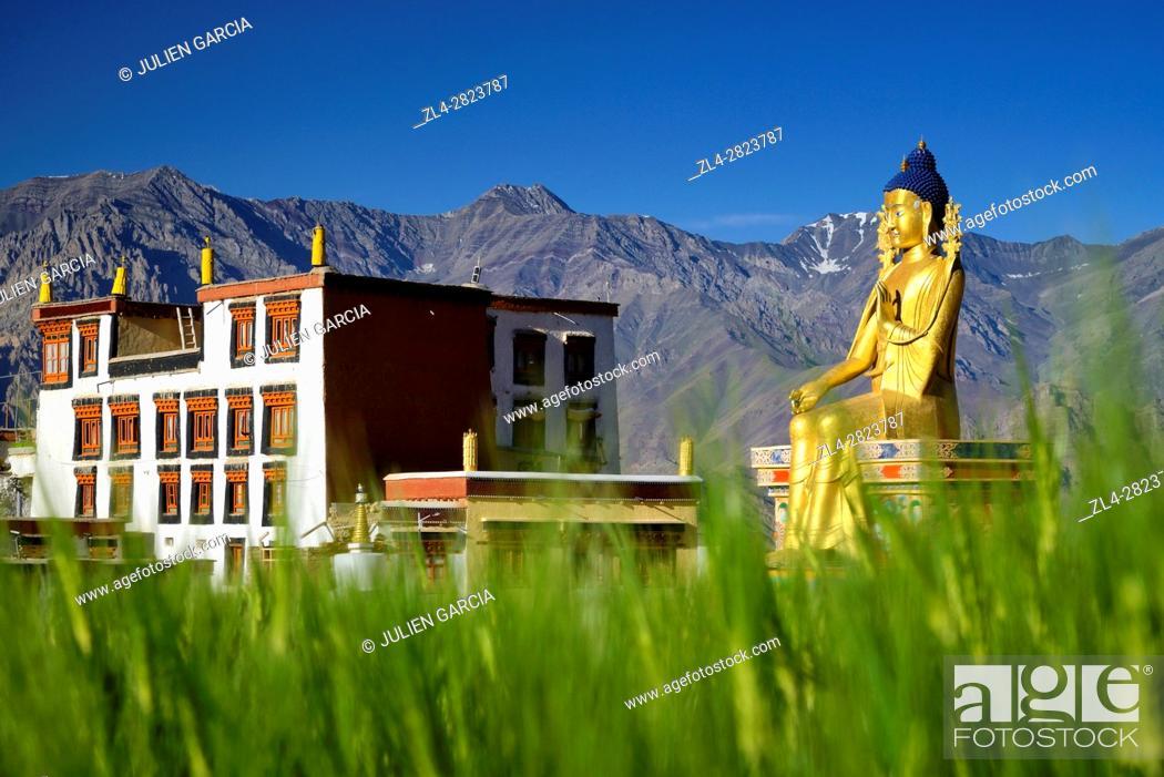 Stock Photo: India, Jammu and Kashmir State, Himalaya, Ladakh, Indus valley, Buddhist monastery of Likir and the 23m-high statue of Maitreya Buddha (future Buddha).