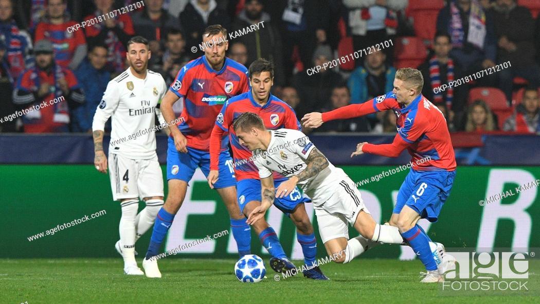Stock Photo: L-R SERGIO RAMOS (Madrid), TOMAS CHORY, ALES CERMAK (both Plzen), TONI KROOS (Madrid) and ROMAN PROCHAZKA (Plzen) in action during the UEFA Champions League.