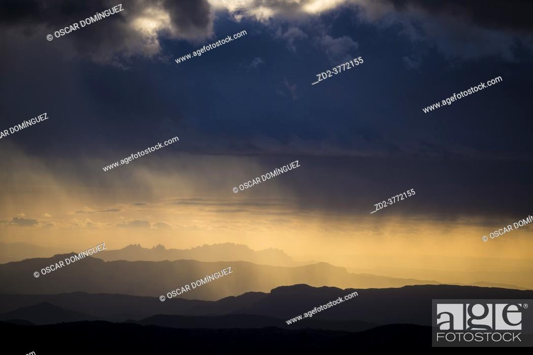 Stock Photo: Sunset over Montserrat massif. Barcelona province. Catalonia. Spain.