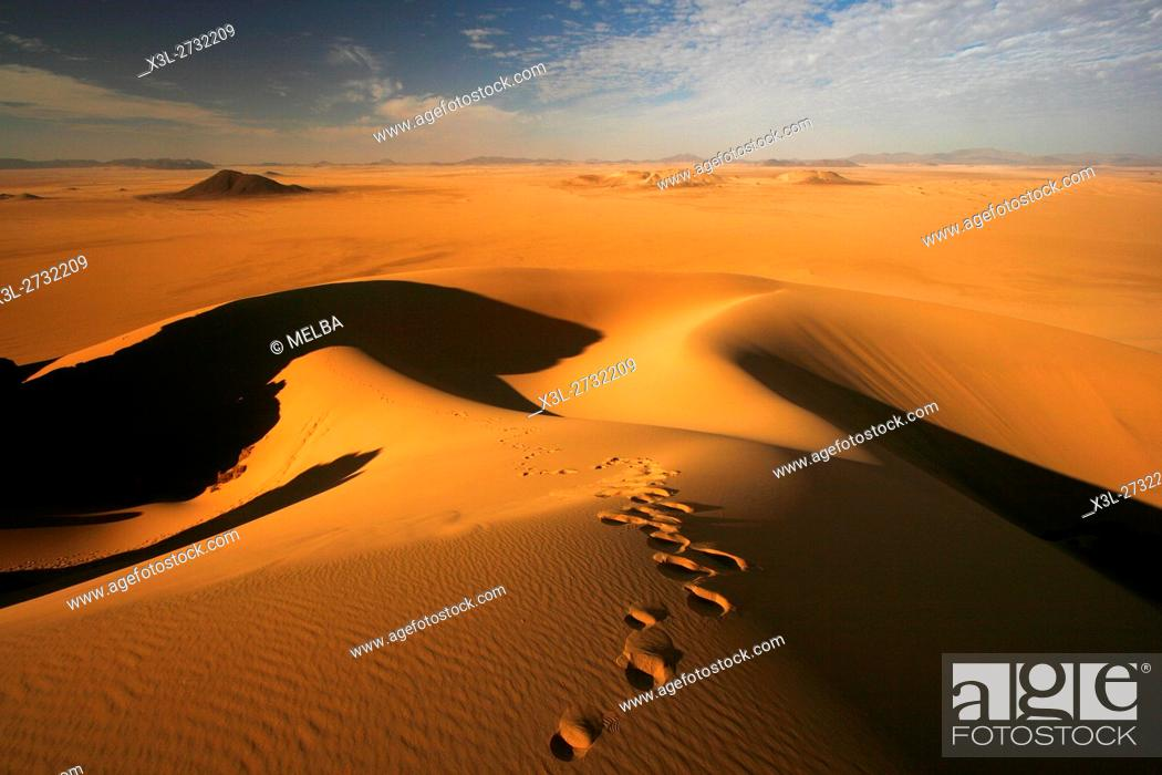 Stock Photo: Desolate landscape in Oued Tin Tarabine. Tassili Ahaggar. Sahara desert. Algeria.