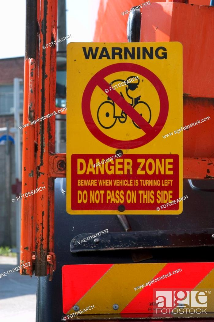 Stock Photo: Warning sign on a side of a crane.