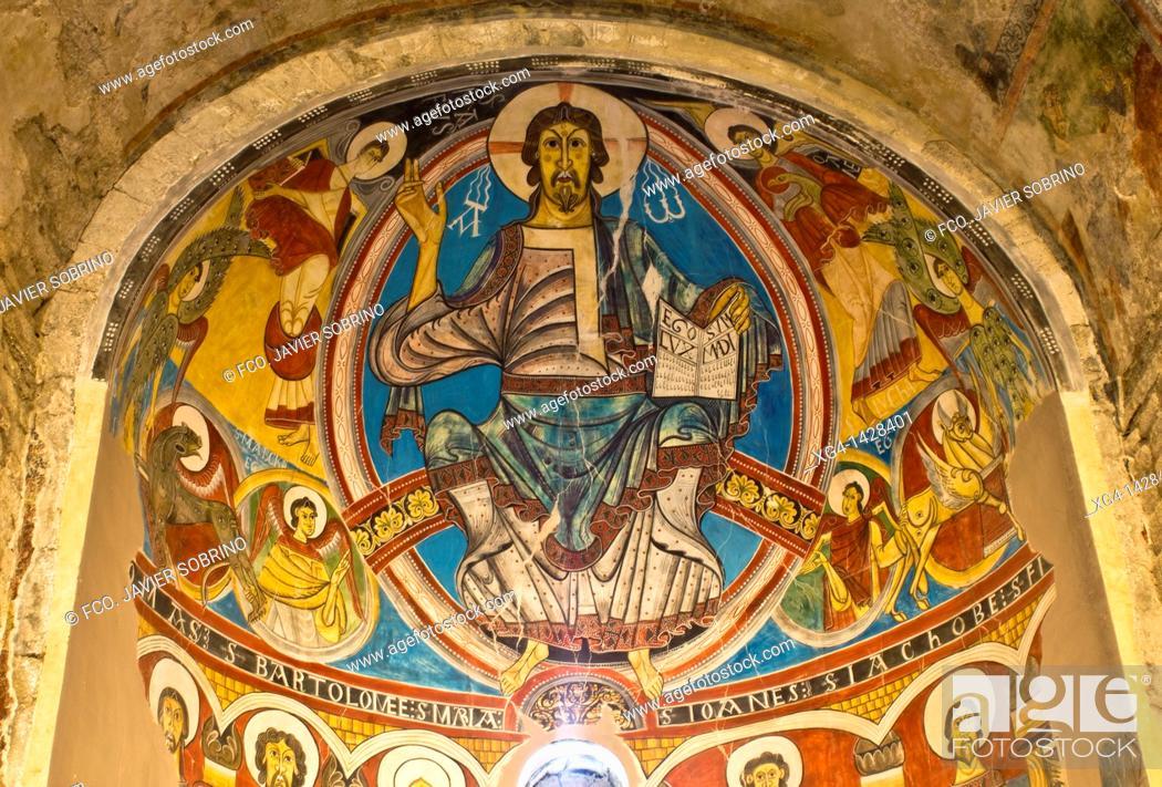 Stock Photo: Murals depicting the Pantocrator in the Romanesque church of Sant Climent de Taüll - Vall de Boi - Lleida Province - Catalonia - Cataluña - Spain.