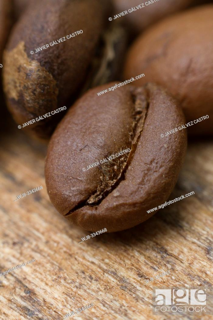 Stock Photo: Roasted coffee beans.