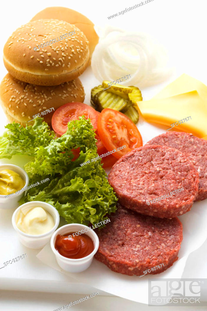 Stock Photo: Ingredients for cheeseburgers.