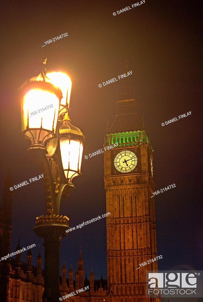 Stock Photo: Big Ben and Victorian street lamp at night in Westminster, London, England.
