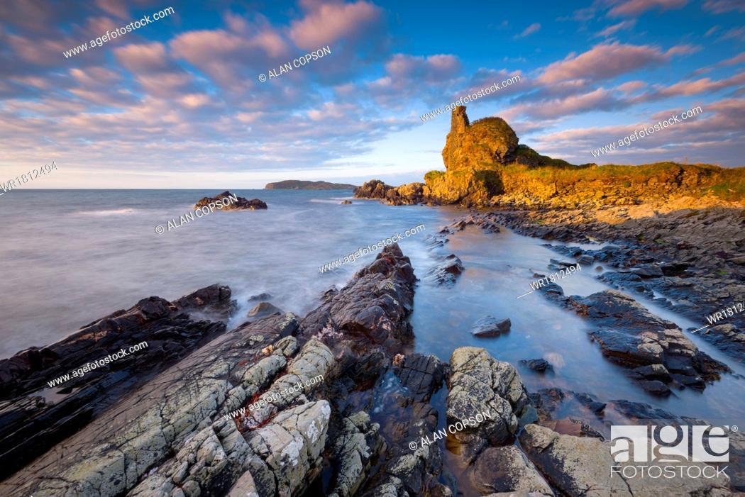Stock Photo: Lagavulin Bay, Dunyvaig (Dunyveg) Castle, Islay, Argyll and Bute, Scotland, United Kingdom, Europe.