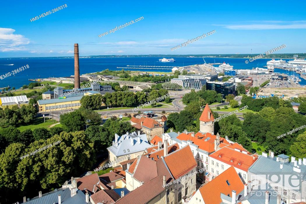 Stock Photo: Estonia (Baltic States), Harju region, Tallinn, general view of historical center of the UNESCO World Heritage, and the ferry port on the Baltic Sea.
