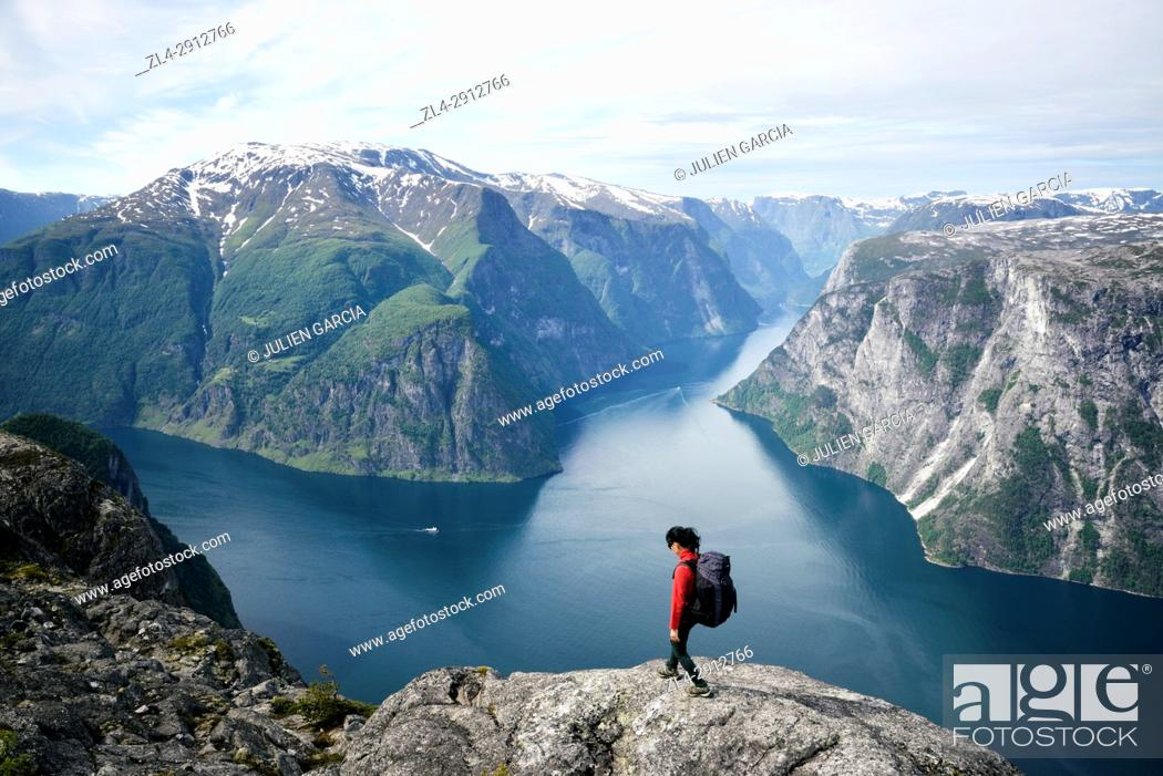 Stock Photo: Norway, Sogn og Fjordane, Aurland, Sognefjord, view from the summit of Kalvsnesnosi on the fjord of Aurlandsfjord and Naeroyfjord.