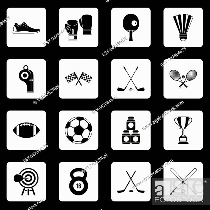 Stock Vector: Sport equipment icons set in white squares on black background simple style vector illustration.