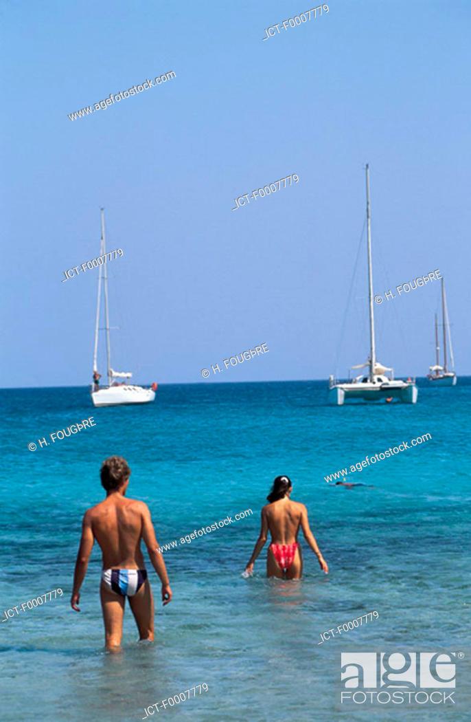 Stock Photo: France, Corsica, Porto-Vecchio, Santa Giulia beach.