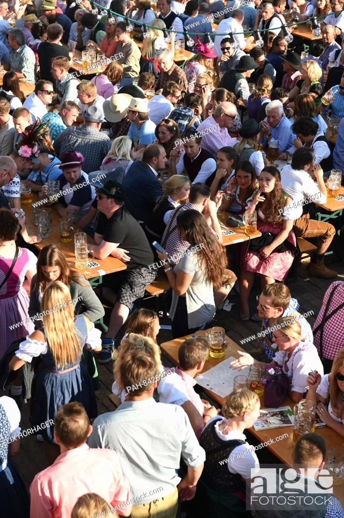 Stock Photo - Visitors can be seen in the beer garden of the Paulaner festival tent at Oktoberfest in Munich Germany 25 September 2016 . & Visitors can be seen in the beer garden of the Paulaner festival ...