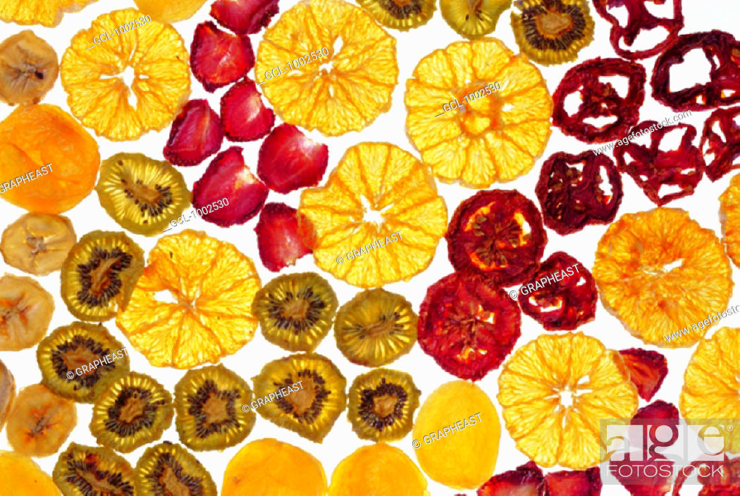 Stock Photo: Slices of different sorts of fruit.