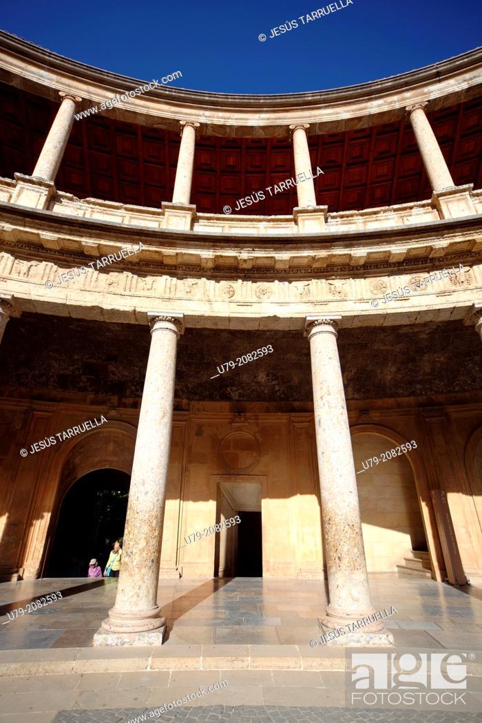 Stock Photo: Palacio de Carlos V. Alhambra. Granada. Spain. Andalusia. Europe. UNESCO 1984.