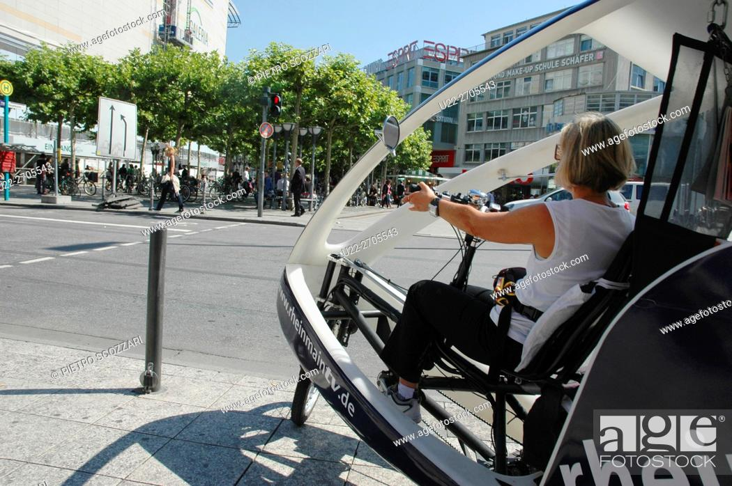 Stock Photo: Frankfurt, Germany: cyclo-taxi.