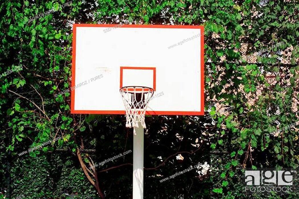 Imagen: Basketball hoop mounted on a backboard.