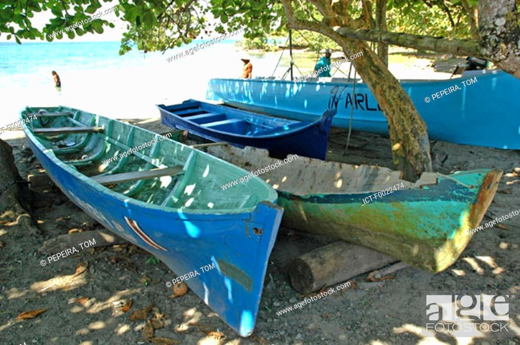 Stock Photo: Costa Rica, Caribbean coast, Puerto Viejo, fishing boats.
